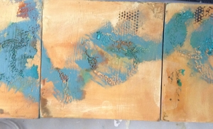 Three pieces that I began before the challenge, but I have added a paint layer: the gold and the blue. I wasn't planning a triptych, but....