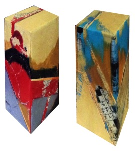 "Standing Stones: ""Poetry In Motion"" and ""A Word For the Wise,"" 8"" x 4"" with art on all sides."