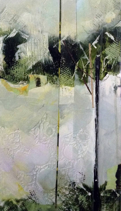 """Detail of """"Seeing In A Different Light III,"""" after adding a bit of """"collage"""" paper."""